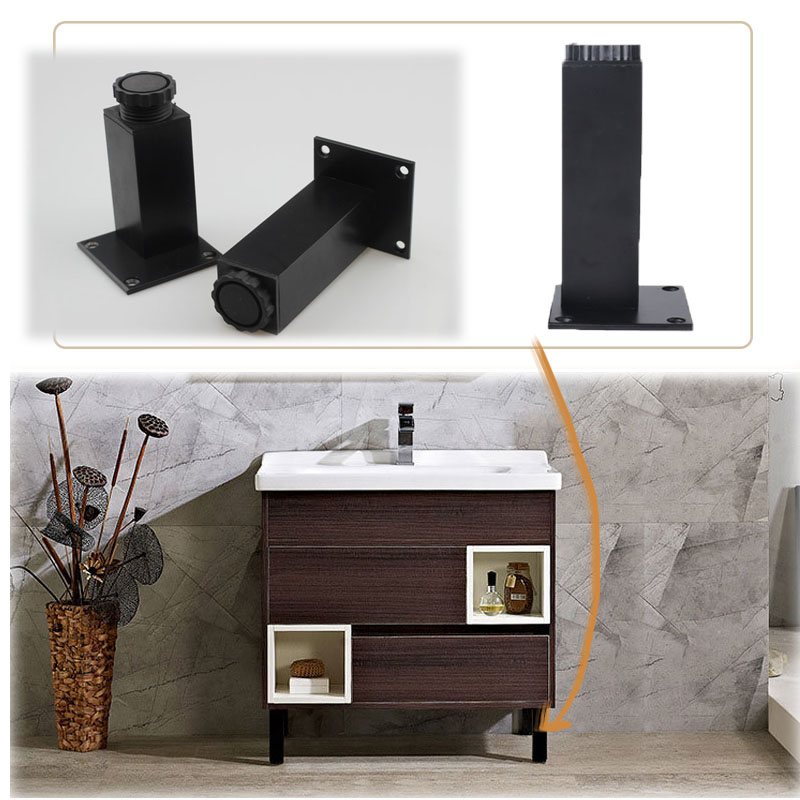 Black Aluminum Alloy Adjustable Furniture Cabinet Sofa Desk Table Bed Legs Feet Height(50-300mm)x38mm Width With Mounting Screws