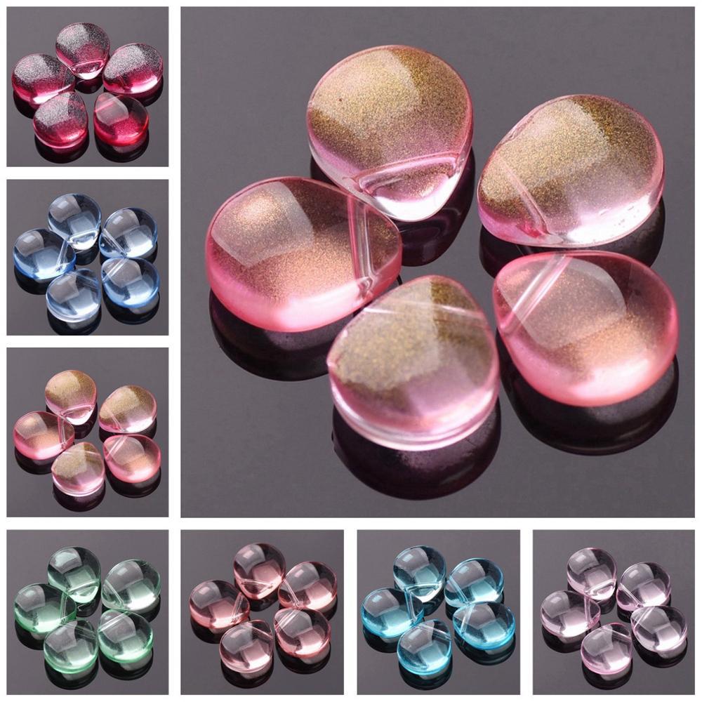 10 шт., стеклянные бусины в форме слезы, 12 х10 мм