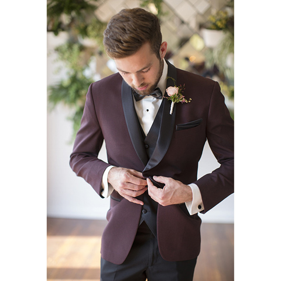 New Classic Men's Suit Smolking Noivo Terno Slim Fit Easculino Evening Suits For Men Wine Red Male Costume Home Wedding Blazer