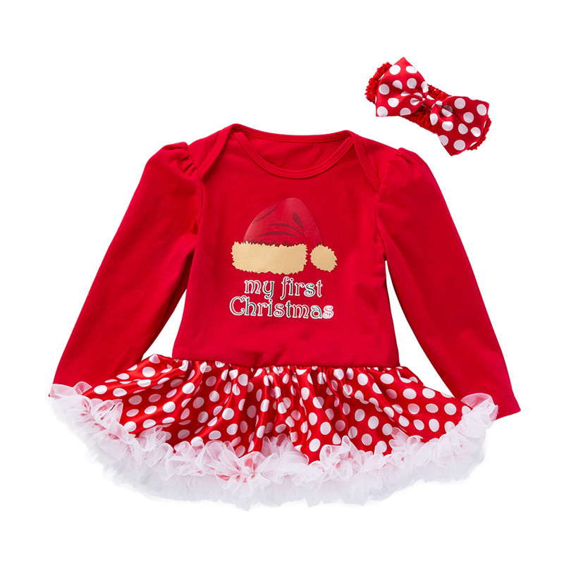 Outfits Dress Romper Christmas-Clothes-Set Long-Sleeve Tulle Wave-Point Baby-Girl Newborn