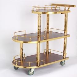 Carrito de agua y vino de titanio para Hotel, carrito de comedor europeo de tres niveles, carro de postre de lujo, coche de pastel de té