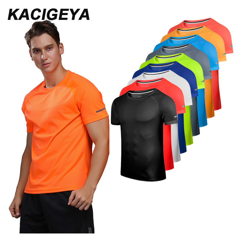 Breathable Short Sleeve Men Running Fitness Tshirt Quick Dry Soccer Jersey Solid Sports Tees New Training Tshirt 2019