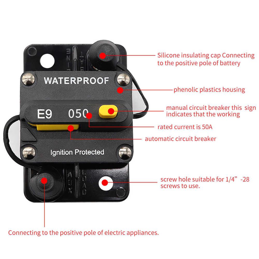 Mobil Fuse 50A Circuit Breaker Sekering Inverter Manual Reset Tombol untuk Auto Truk RV Marine Trailer