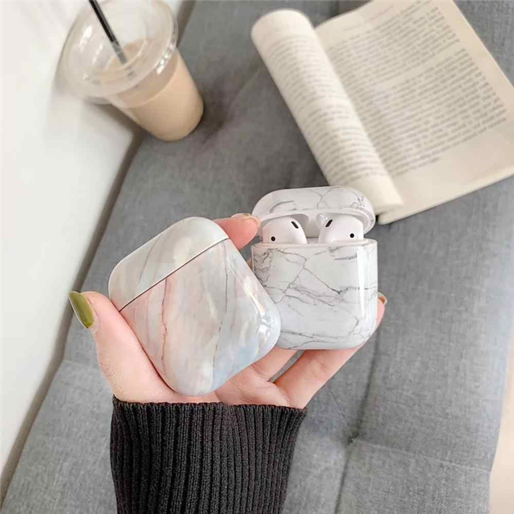 Korean style simple marble 1/2 generation suitable for AirPods wireless headset protective cover Bluetooth box hard shell