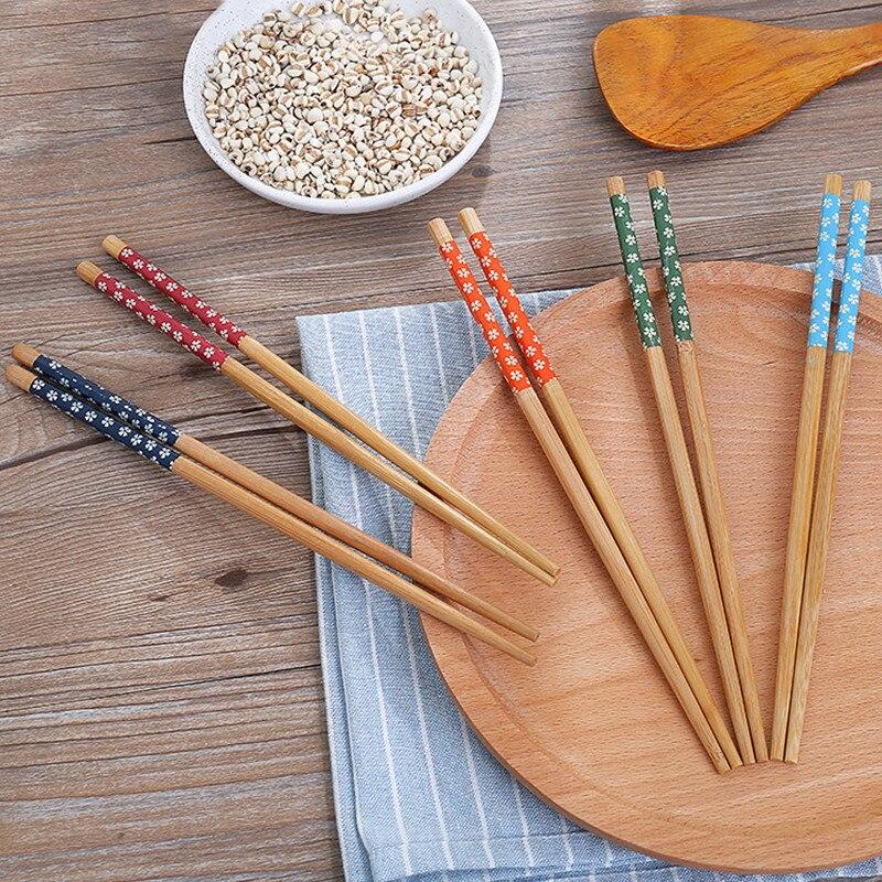 1/5 пар Многоразовые китайский классический деревянный Традиционные палочки для еды Винтаж ручной работы натуральный цветок бамбуковые пал...