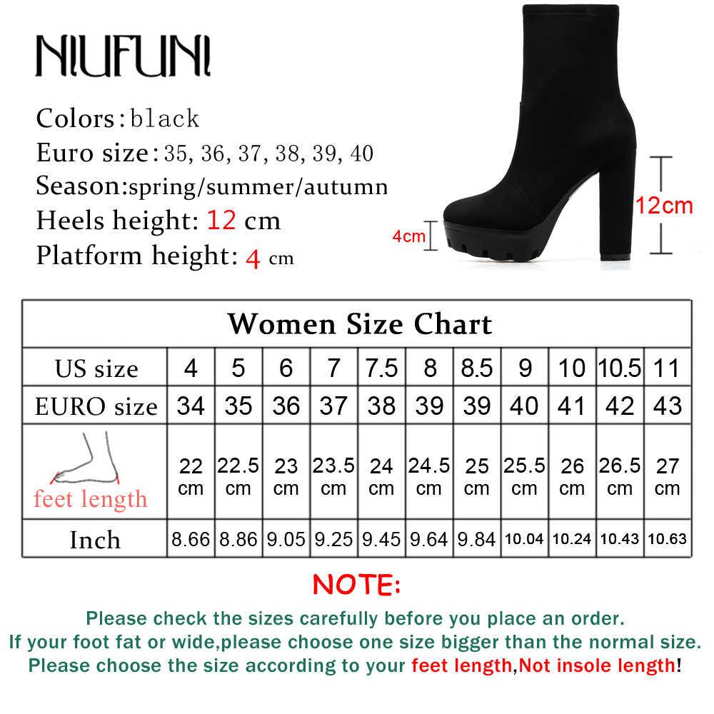 NIUFUNI 2019 ผู้หญิงรองเท้าข้อเท้ารองเท้าฤดูใบไม้ร่วงรอบ Toe Platform รองเท้าบูทแฟชั่นหนังนิ่มสีดำส้นสูงรองเท้า Botas Mujer