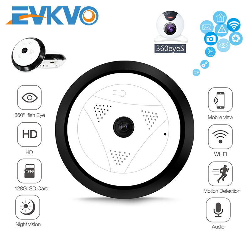 EVKVO 1080P HD 360 Video Camera Wifi Panoramic Onvif P2P Two Ways Audio 2MP Wireless IP Fisheye Home CCTV Mini Security Camera