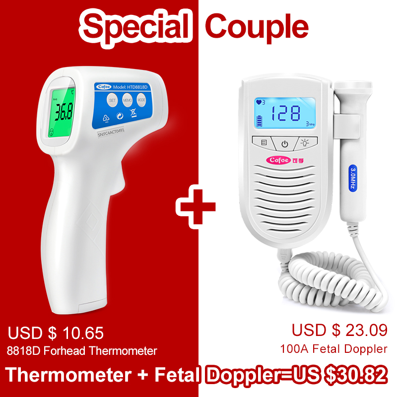 Cofoe Fetal Doppler Ultrasound Baby Heartbeat Detector & Non-contact Digital Infrared Thermometer Suitable For The Whole Family