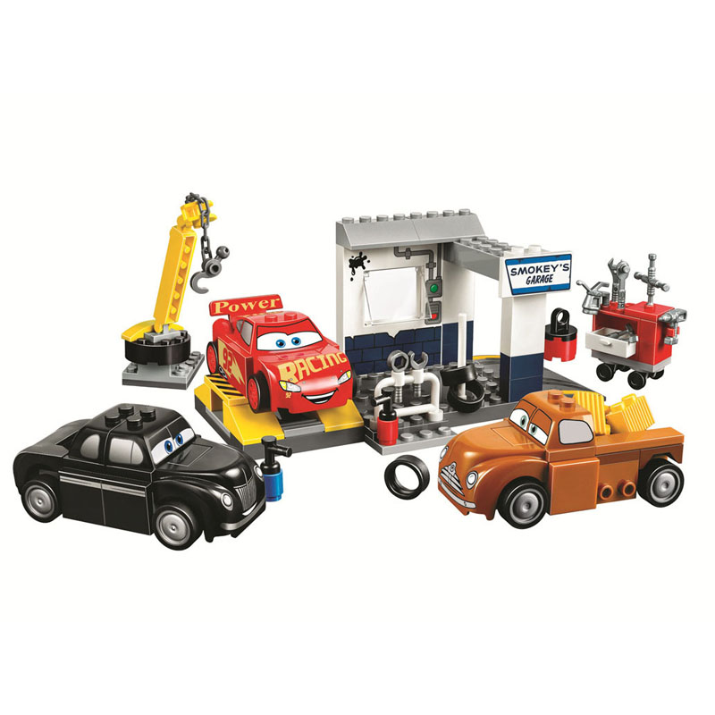 ><font><b>Cars</b></font> Juniors Smokey's Garage Figure 126Pcs Building Blocks Brick Toy for Kid Gift with <font><b>Legoinglys</b></font> Technic