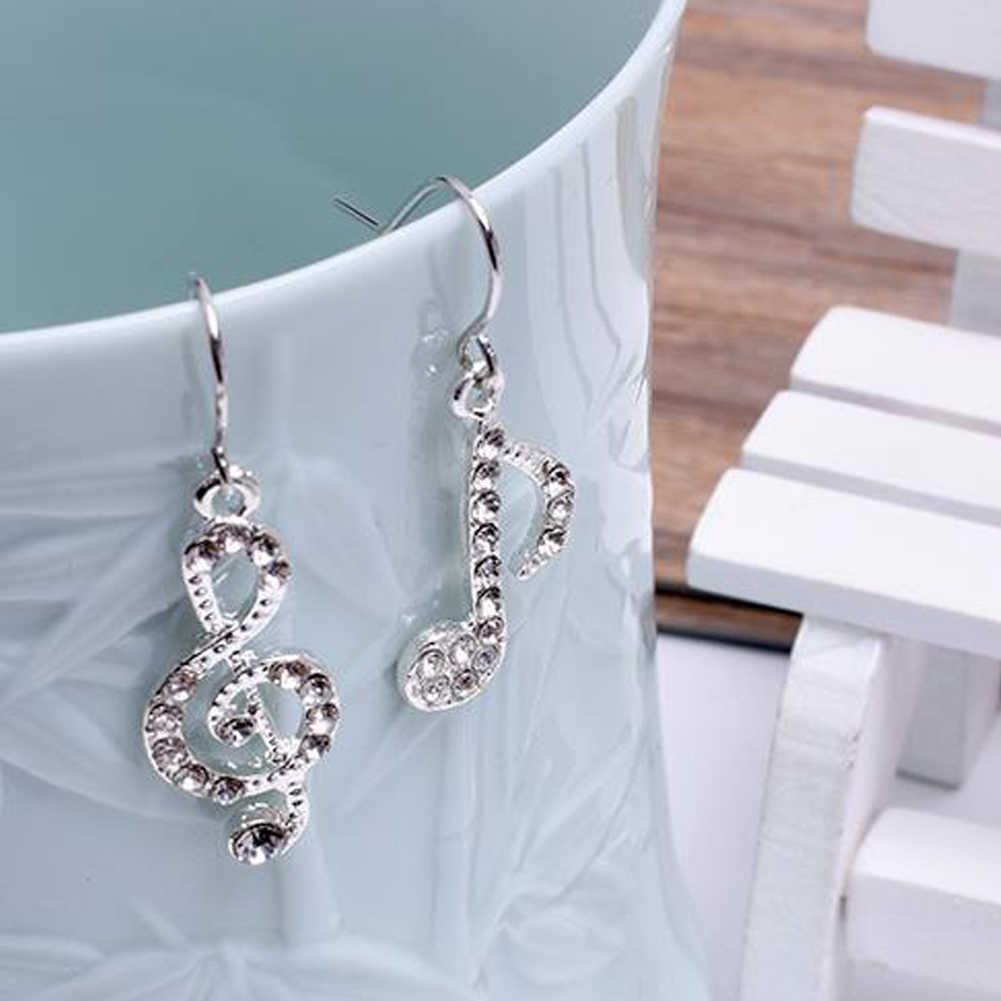 Nuty srebrne kolczyki pełne CZ jasny kryształowy kolczyk fani muzyczne duże kolczyki dla kobiet biżuteria 2020