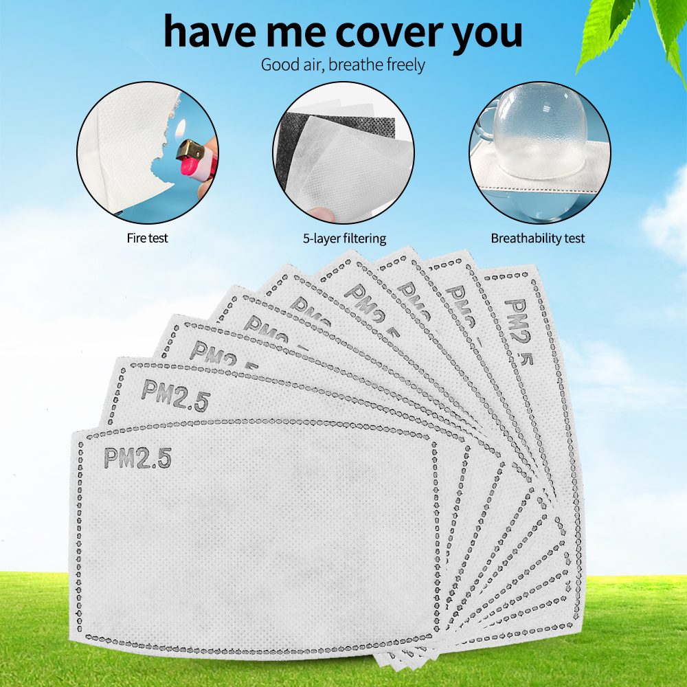 10/50/100pcs PM2.5 Activated Carbon Filter Paper For Adults Mouth Face Mask Health Care PM25 Filter Replacement Cloth Mask Liner