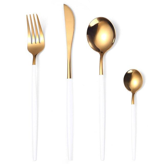 Stainless Steel Knife Fork Spoon Gold Dinnerware Set Food Grade Luxury Tableware Set Gift Box Dishwasher Safe Home Cutlery Set