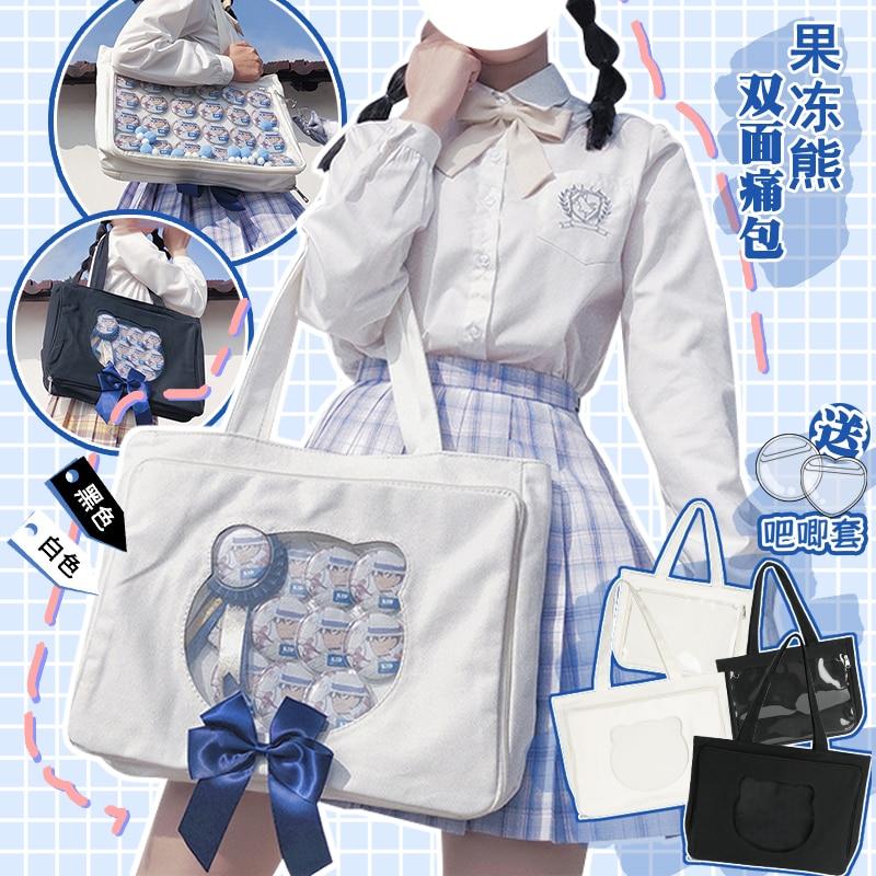 Japanese College Cute Bear Head Double-sided Itabag Lolita Transparent Shoulder Bag Canvas Totes Comic Show Handbag Students