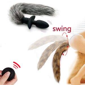 Tienda Sexy, vibrador Anal de cola de zorro con Control remoto inalámbrico, juguete Anal, fetiche, Cosplay, juegos para adultos, Juguetes sexuales para hombres y mujeres