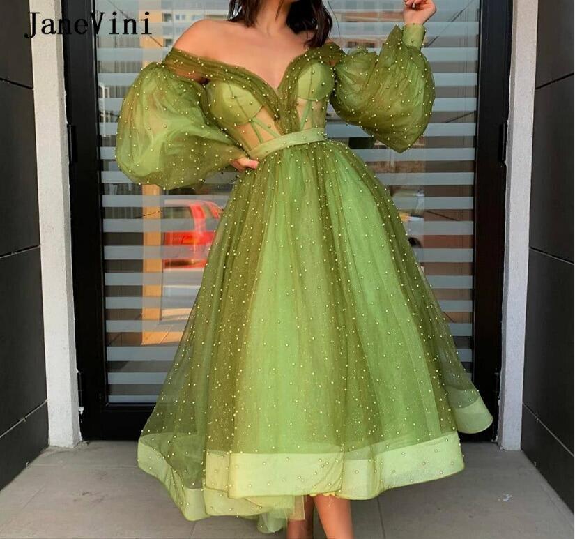 JaneVini Elegant Green Arabic A Line Evening Dresses Puffy Long Sleeves V Neck Full Pearls Ankle Length Tulle Women Dinner Gown