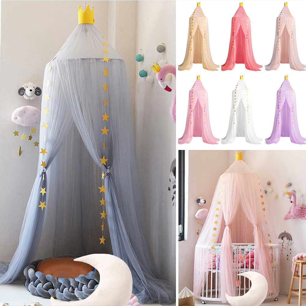 hanging mosquito net round baby kids lace four corner student canopy bed mosquito net for children girls room decoration