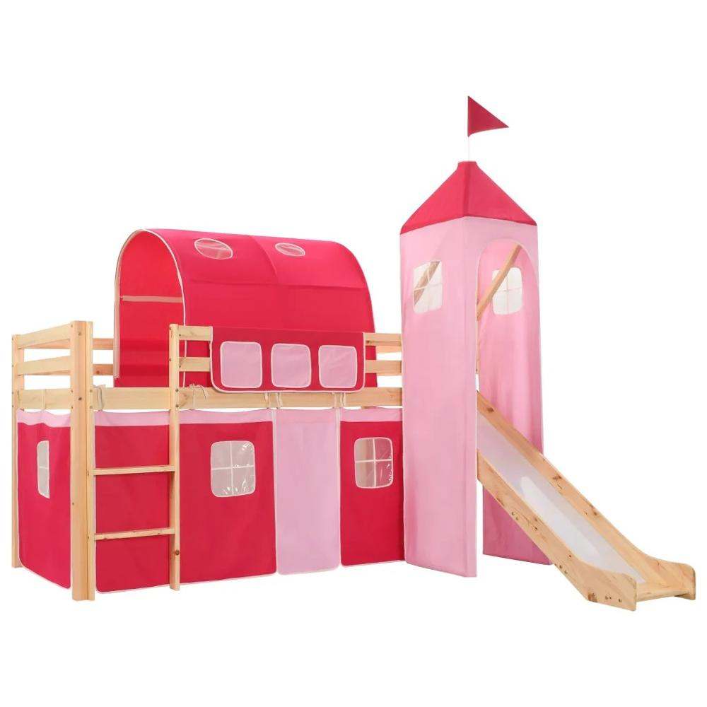97x208cm VidaXL Children'S Loft Bed Frame With Slide & Ladder Pinewood 282712 Princess-Themed Dream House Tent Include Bed Slats