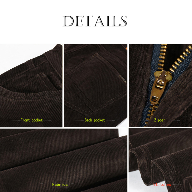 Image 5 - NIGRITY winter thick men pants mid waist loose trousers elastic  corduroy pants long straight business casual pants 6 colors  -