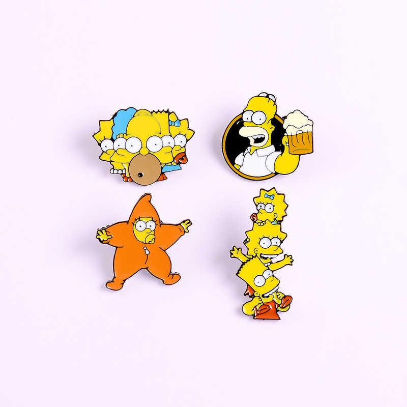 5 stili The Simpsons Dello Smalto Spille Lisa Homer Jay Marge Spille Spilli Per Gli Amici personaggio dei cartoni animati del meme Risvolto Spille