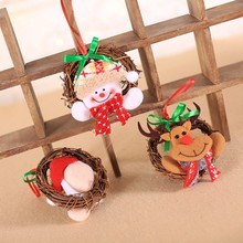 1PC Christmas Small Wreath Hanging Decoration Portable Rattan Ring Doll Houehold for Merry Party