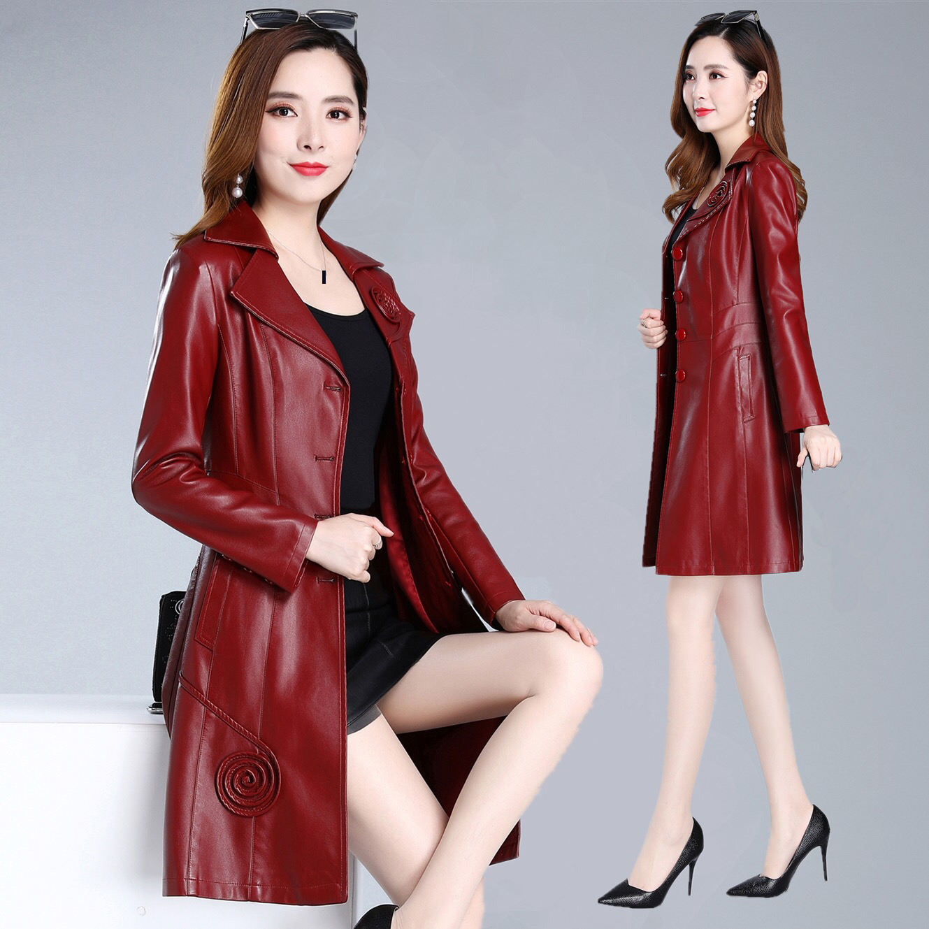 Autumn Spring Women Female Slim Appliques Flower Purple Pu Leather Long Trench Coat , 2019 Fall Woman 5xl 6xl Clothes Coats