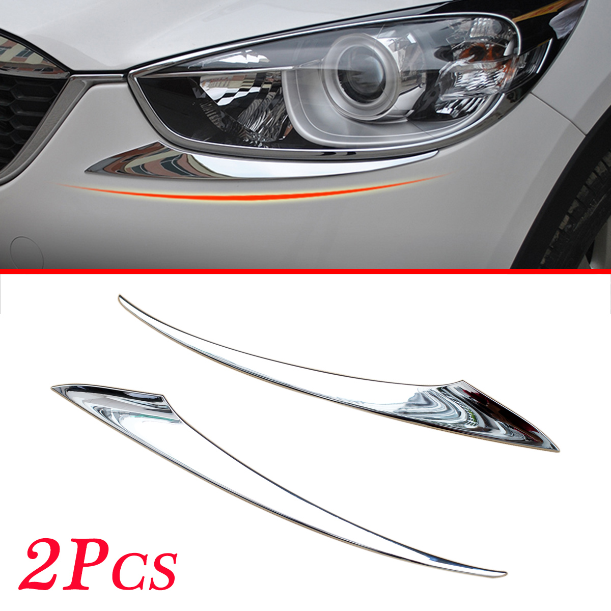 Chrome Front Head Light Lamp Cover Stripes Trim Moulding Fit <font><b>For</b></font> <font><b>Mazda</b></font> <font><b>CX</b></font>-<font><b>5</b></font> <font><b>2012</b></font> 2013 2014 2015 <font><b>2016</b></font> Accessories 2Pcs image