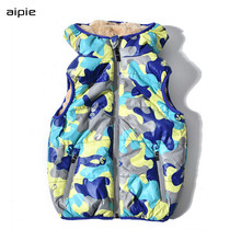 New Autumn/winter Children down vests Camouflage print Pattern Lining - brushed Warm and comfortable boys clothing