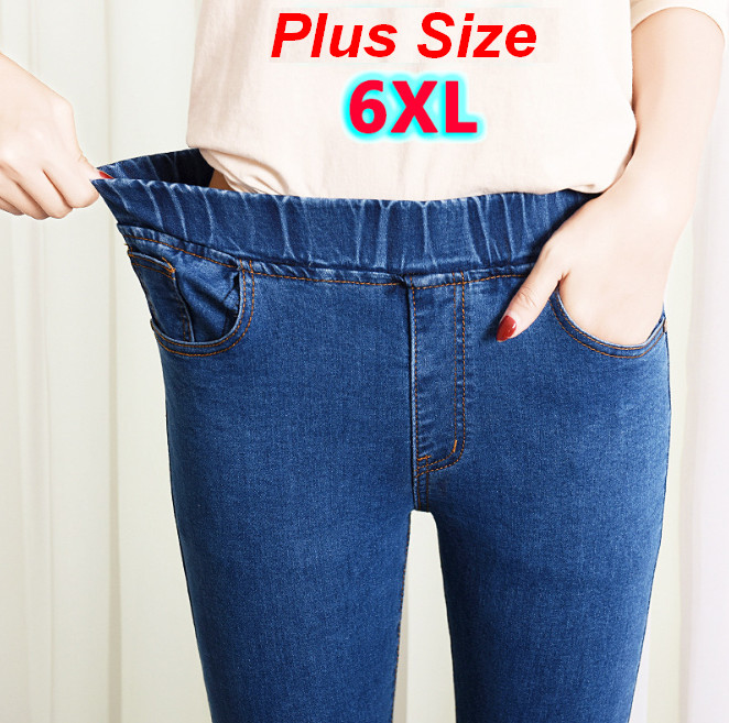 Womens   Jeans   Plus Size Elastic Waist Stretchy Pants Denim Trousers Bagger Autumn Winter Blue black Big Size 5xl 6xl ouc551