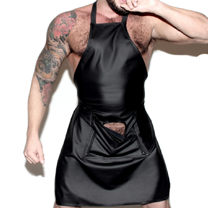 <font><b>Mens</b></font> <font><b>Sexy</b></font> Lingerie leather Apron front Open Crotch Crotchless Uniform hollow out Maid manservant <font><b>Cosplay</b></font> Night Club <font><b>Sexy</b></font> Costume image