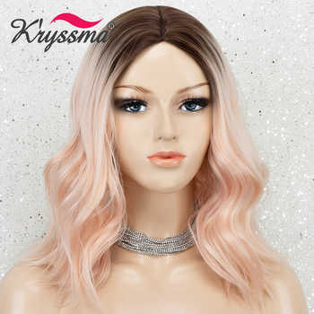 Short Bob Wavy Wig Ombre Brown Blonde Wigs Purple Synthetic Wigs For Women Blue Cosplay Wigs Heat Resistant Fiber Hair Wig