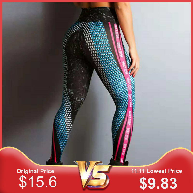 LAISIYI New Mesh Printing Leggings Women Leggings For Fitness Polyester High Waist Pants High Waist Solid Workout Legging Women
