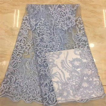 Sky blue African Material sequins Lace Fabric For Wedding white Nigerian French Lace Fabric 2019 High Quality Lace Material