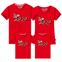 2020 Chinese New Year Family Matching Clothes Cartoon Mouse Print Mother Daughter Father Son Kids Spring Festival T-shirt Tees