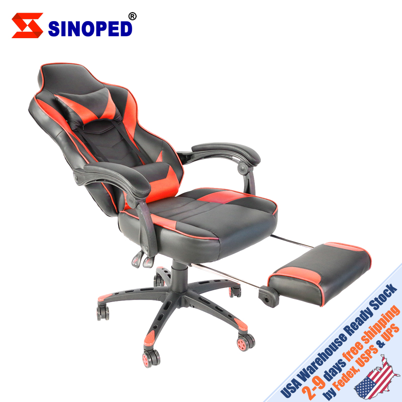 【US Warehouse】C-type Foldable Nylon Foot Racing Chair With Footrest Black & Red Free Shipping To USA