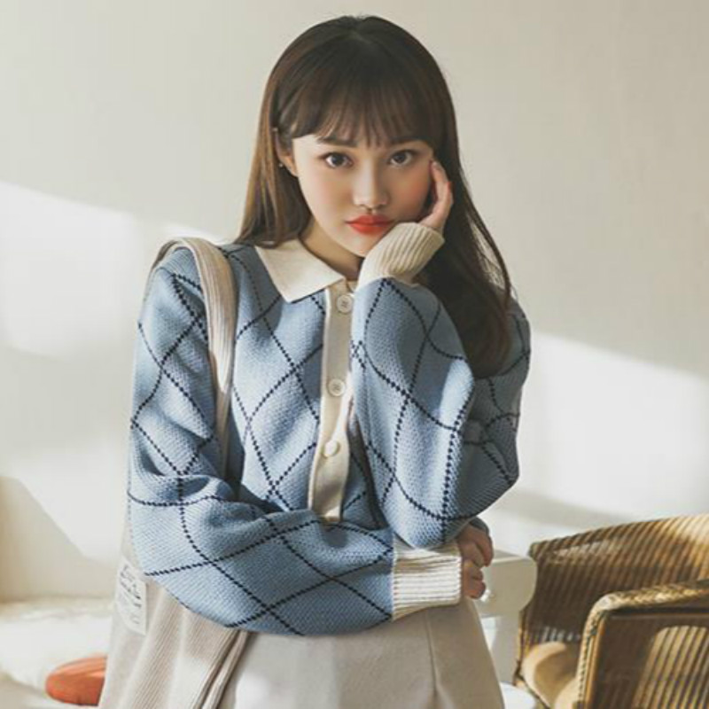 Women Autumn Winter Argyle Sweater Coat Knitted Cardigan Long Sleeve Casual Pull Femme Jersey Sueter Mujer Truien Dames