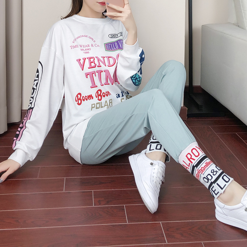 Hip Hop Sports WOMEN'S Suit Autumn 2019 New Style Fashion Brand Loose-Fit BF Western Style Online Celebrity Casual Sweatshirt Tw