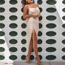 NewAsia – robe longue froncée en Satin, tenue de soirée Sexy, avec cordon de serrage, bretelles Spaghetti, col bénitier, dos nu, été, 2020