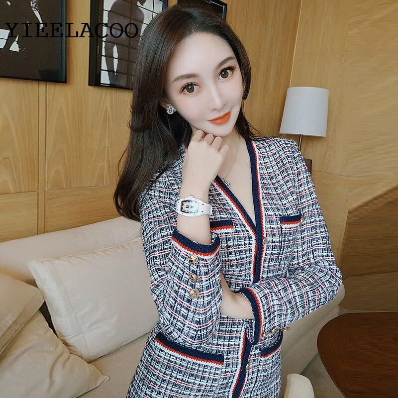 Blue Plaid Tweed jacket + shorts suit spring/autumn / winter women's jacket Business ladies 2 piece shorts suit