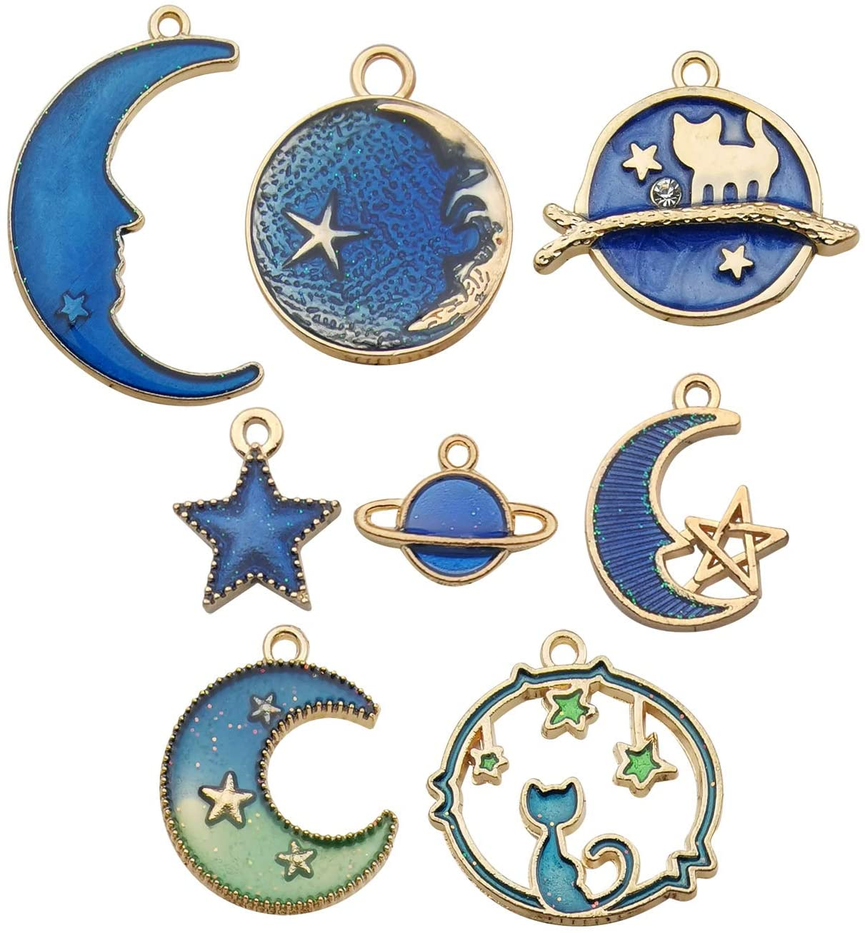 Set of Two Moon and Star Hair Pins with Glittery Enamel Plating