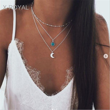 X-ROYAL Women Vintage Style 3 Layers Rhinestone Moon Pendant Fashion Necklace Trendy Ethnic Wind Silver Female All-match Chokers