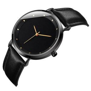 Image 4 - CL056 Full Black Brand Your Logo Custom Watches Genuine Leather Strap Own Logo Mens Watch Original Design reloj personalizado
