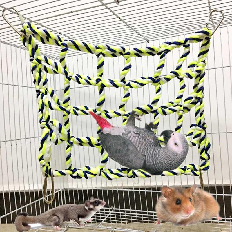 1Pc Climbing Net For Parrot font b Pets b font Bird Cage Toy Game Hanging Rope