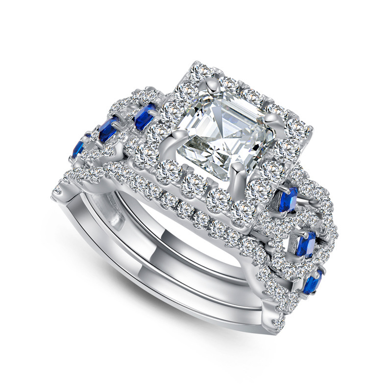 QYI Luxury senior 925 sterling Silver Women Engagement Jewelry 2 ct  Asscher Cut Simulated diamond Female Wedding Rings