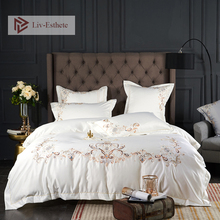 Liv-Esthete Luxury A Silk B Cotton European Embroidery Bedding Set Printed Duvet Cover Flat Sheet Double Queen Bed Linen 4PCS