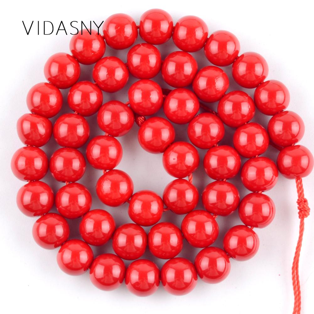 Dark <font><b>Red</b></font> <font><b>Coral</b></font> Round Stone Beads For Jewelry Making 4/6/8/10/12mm Spacer Beads Diy Bracelet Necklace Accessories 15'' Wholesale image