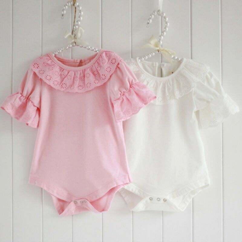 Pudcoco Newborn Baby Girl Clothes Solid Color Long Sleeve Lace Ruffle Romper Jumpsuit One-Piece Outfit Cotton Clothes
