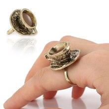 Venda quente retro feminino copo de café anel projetos europeus artificial bronze metal anéis jóias aic88
