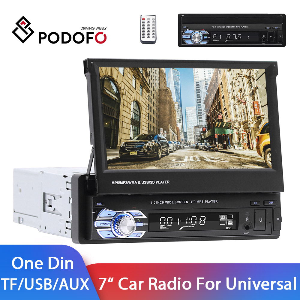 Podofo Double Din Car Stereo Bluetooth Radio Receiver 7 LCD Touch Screen MP3//USB//SD AM//FM Audio//Radio Support iOS//Android Mirror Link Bluetooth Hands Free Calling