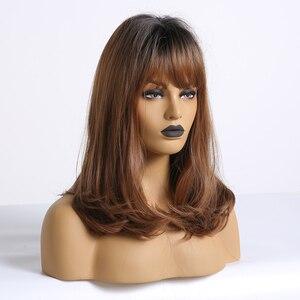 Image 4 - ALAN EATON Bobo peruk patlama ile kısa dalgalı sentetik Ombre siyah kahverengi peruk kadınlar orta isıya dayanıklı Cosplay Lolita sevimli peruk