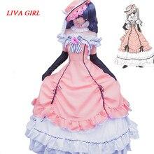 Black Butler Kuroshitsuji Ciel Phantomhive Sleeveless Lace Maid Court Full Dress Uniform Outfit Anime Cosplay Costumes
